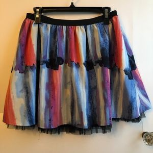 CANDIE'S Blue Pink Watercolor Tulle Pleated Skirt